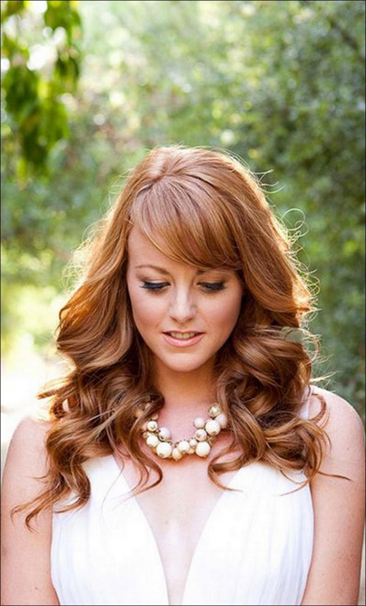 Glossy-Curls-And-Bangs-romantic-wedding-hairstyles