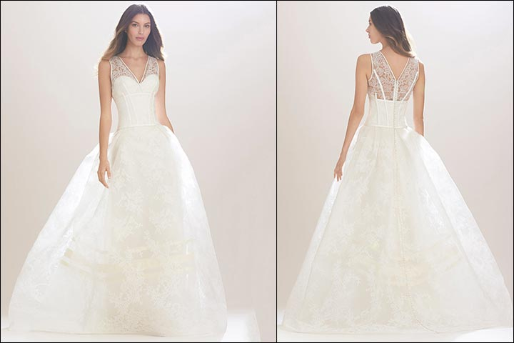 Lace-Boned-Ballgown-Carolina- Herrera-Wedding -Dresses