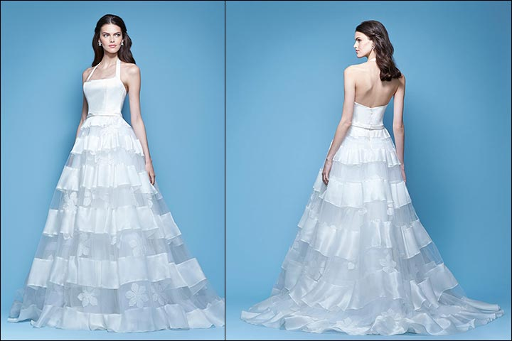 Satin-And-Silk-Organza-Gown-Carolina- Herrera-Wedding -Dresses