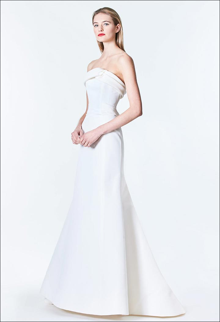 Silk-Faille-Trumpet-Gown-Carolina- Herrera-Wedding -Dresses