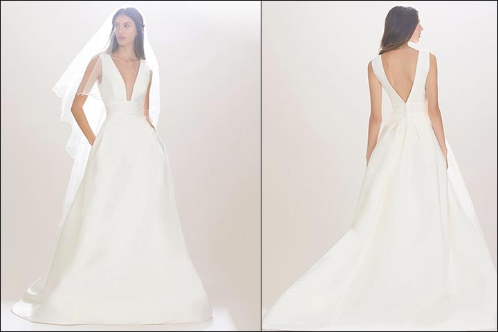 Silk-Mikado-Ball-Gown-Carolina- Herrera-Wedding -Dresses
