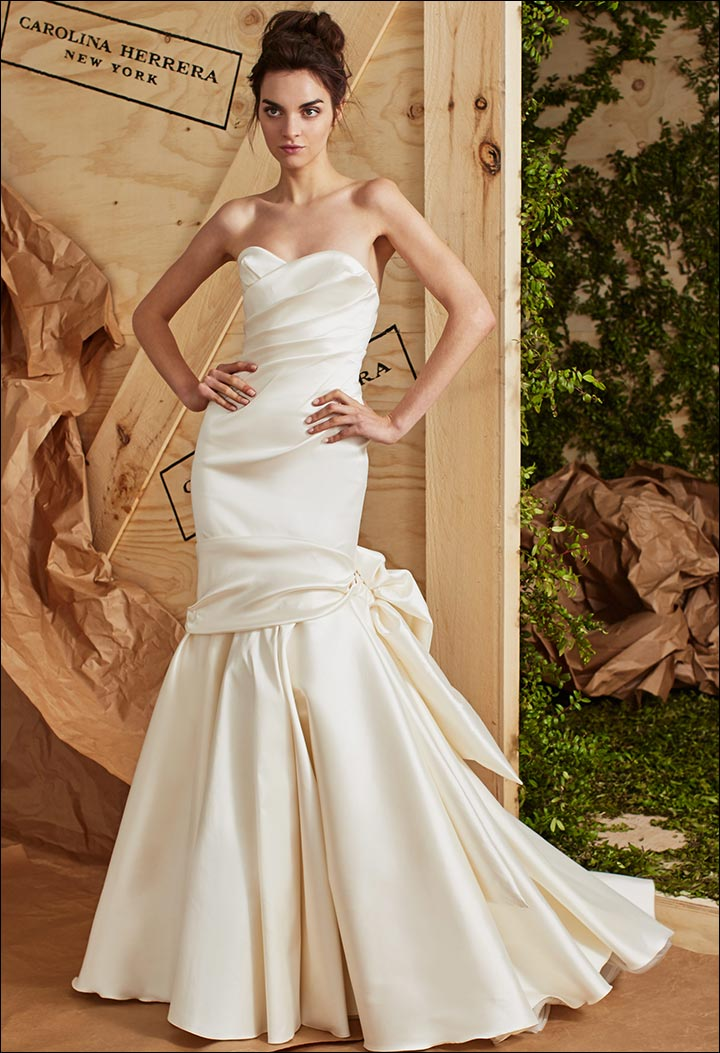 Silk-Mikado-Strapless-Gown-Carolina- Herrera-Wedding -Dresses